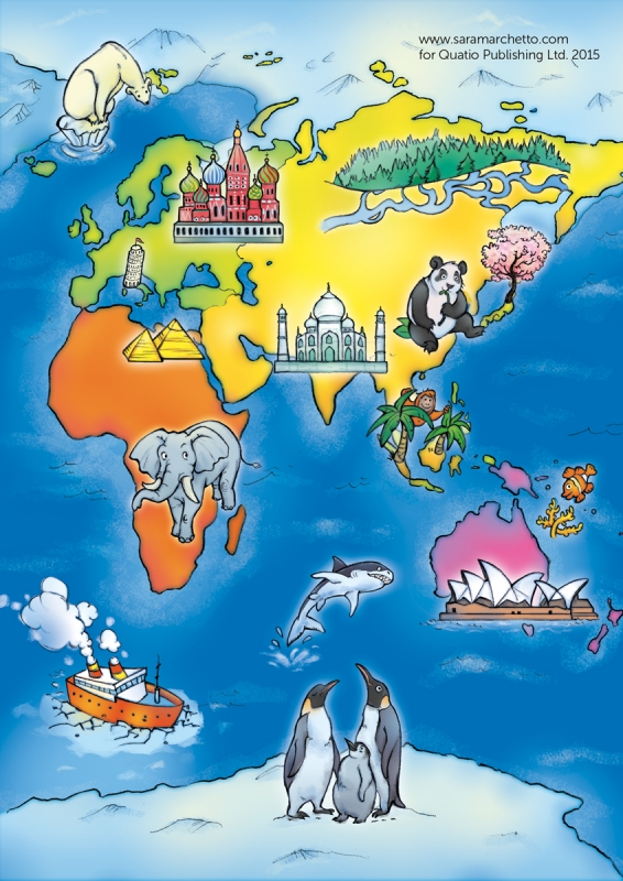 Illustrated kids' game: world