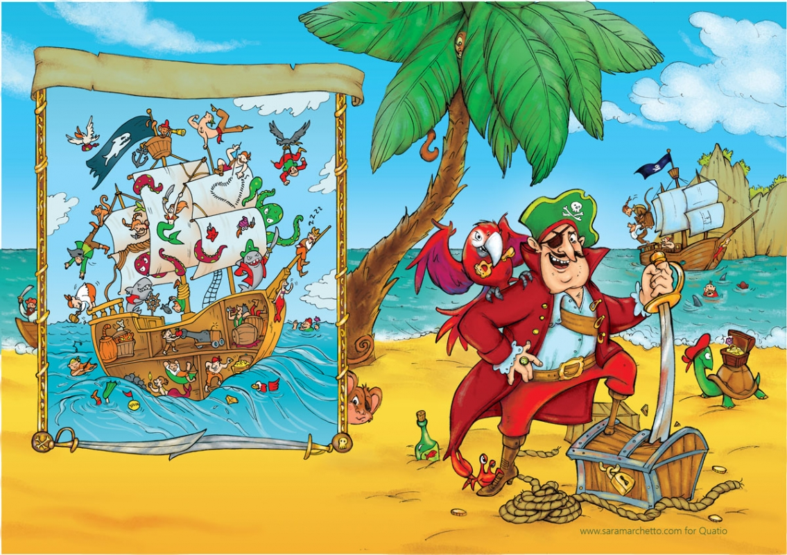 Illustrated folder cover for kids' games: pirates