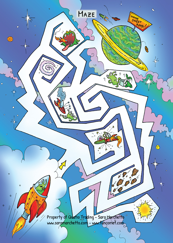 Illustrated activity for kids: Space Maze