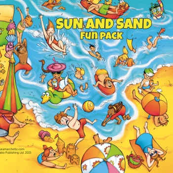 Illustrated folder cover for kids' games: Sun and Sand
