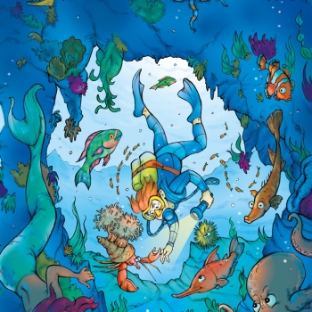 Illustrated folder cover for kids' games: underwater