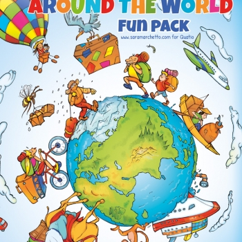 Illustrated folder cover for kids' games: world