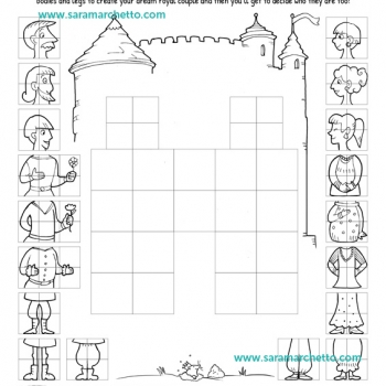 Illustrated coloring pages and activities: princes and princesses