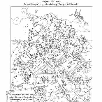 Illustrated coloring pages and activities: find