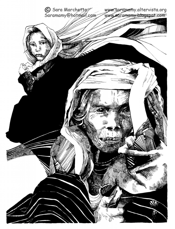 ink drawing woman and child