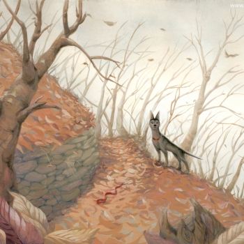 Gouache painting: dog in the woods