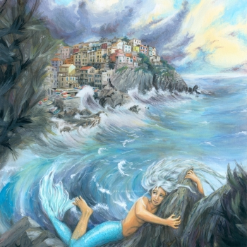 Mermaid and Manarola fantasy painting