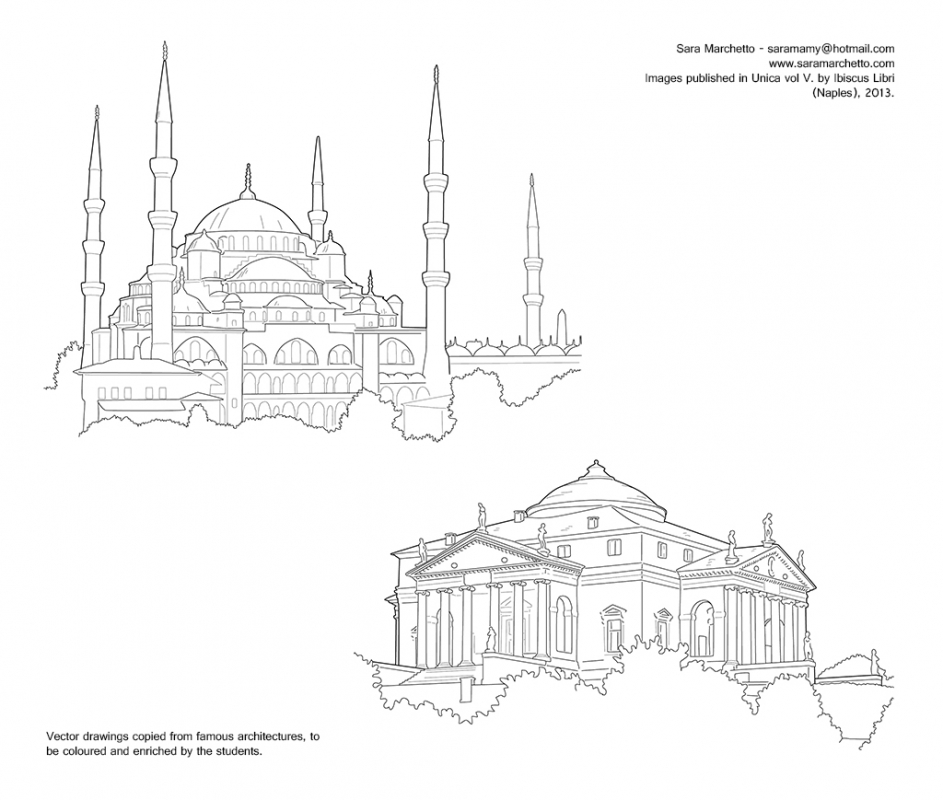Vector illustrations for school textbook: architecture